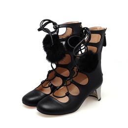 Botas de pele on-line-Moda verão Lace Up fur bola Strappy Banda Oco out Ankle Boots Mulheres Chunky Salto Alto Zíper Curto Bottines Sapatos para senhoras