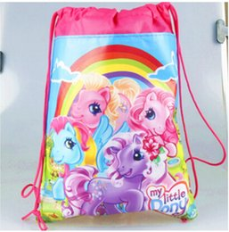 Wholesale Wholesale Backpacks For Kids - Wholesale- Drawstring Bag Mochila Bags non-woven string shoe School bags For Girls Cartoon Kids Backpack beach Hiking Travel birthday gifts