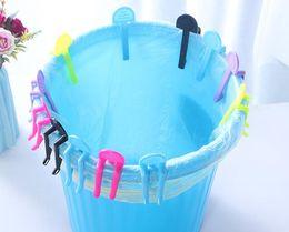 Wholesale garbage bins - 500pcs Practical Trash Can Clamp Plastic Garbage Bag Clip Fixed Waste Bin Bag Holder Rubbish Clip