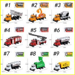 Wholesale alloy construction - Pull Back car trucks mini alloy construction vehicle kids toys simulation metal car fire fighting engineering cars sanitation model toys