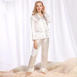 27b267af9f Silk Pajamas Women Summer Long Sleeve Pants Tracksuits Two Piece Set