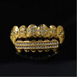 Wholesale Dental Jewelry - Mens hip hop jewelry Gold Plated crystal Grillzs European and American style rhinestone hiphop tooth Dental Grills accessorie