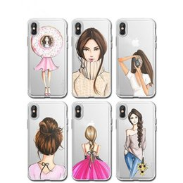 Wholesale Iphone Winter Cover - Cartoon Fashion Winter Dress Beauty Girl Mobie Phone Case For iPhone 8 8Plus X Silicone Transparent Soft Luxury Cover