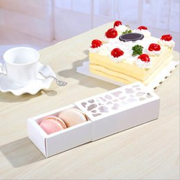 Wholesale Macarons Baking - 5pcs White Hollow Macarons Box Cookie Package Baking Small Cake Box for Chocolate Muffin Biscuits Luxury Wedding Party Decor