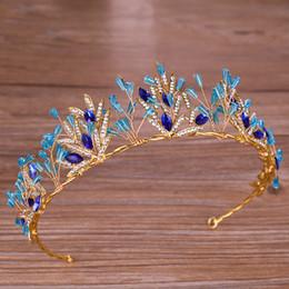 Accessori per i capelli blu di matrimoni online-Blue Crystal Strass Crown Bride Princess Crown Diademi Accessori per capelli Copricapo Matrimoni fatti a mano Commercio all'ingrosso di gioielli da sposa
