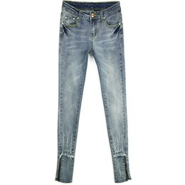 Wholesale Worn Out Jeans - New Large Size Women Pants Female Stretch Pencil zipper cuff side ripped worn out hole cowgirl western brazil hot selling Jeans