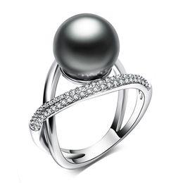 Neue Ankunft Leaf Ring mit großen grauen Perle Trendy White Schmuck Dropshipping anel Aneis weibliche Schmuck Messing Ringe von Fabrikanten
