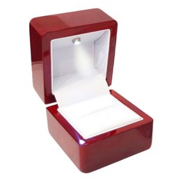 Wholesale Led Display Show - Rings Display Box Storage Soft Velvet Tray Case Holder Stand Display Storage Box Show Jewelry Organiser LED Light Ring Box