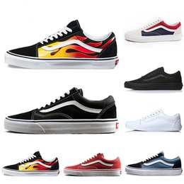 Flames Original old skool Running shoes black blue red Classic mens women  canvas sneakers fashion Cool Skateboarding casual shoes 36-44 acc8ca01a