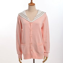 Wholesale Uniform Cardigan Sweater - 1pc Girls Preppy JK Uniform Knitted Cardigan Loose Sailor Collar Sweater Outwear