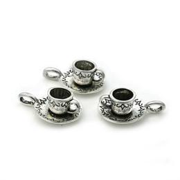alice wonderland platten Rabatt Heißer Verkauf 50 stücke Antique Silver Kaffeetasse Teekanne Charme Anhänger Halskette Armband Zubehör Mode Frauen Schmuck Großhandel Einzigartiges Geschenk