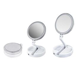 Argentina Nuevo My Fold Away espejo de maquillaje LED de doble cara de rotación plegable USB iluminado espejo de vanidad pantalla táctil portátil de la lámpara de mesa de calidad superior Suministro