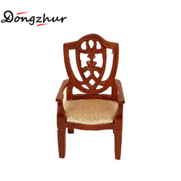 Wholesale Furniture Bedroom Sets - 1:12 Dollhouse Miniatures Accessories Wooden Chair Model Brown Mini Furniture European Solid Wood Armchair Bedroom Furniture Set