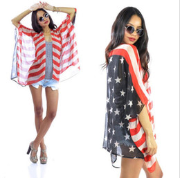 Wholesale Usa Flag Vest - USA Flag Distress Beach Pool Cover Up Sleeved Open Vest Tunic Wrap Shawl Scarf Flag Scarves