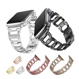 Argentina Para los accesorios de la correa de metal de la serie 1 2 3 de Apple Watch con diamantes de imitación para el reemplazo de la banda de acero inoxidable de iWatch 38mm 42mm Suministro