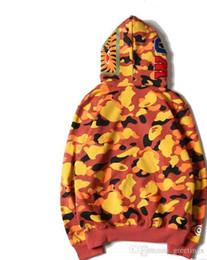 Animali da camuffamento online-Felpe con cappuccio da uomo con stampa squalo mimetico per camicetta Felpe con cappuccio da uomo con camouflage mimetico Giacca da skateboard con cappuccio Hip Hop Streetwear