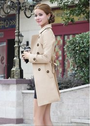 Wholesale Long Waist Coats - Wholesale- 2017 New Brand Women Trench Coat Long Windbreaker Europe America Fashion Trend Double Breasted Slim Long Trench W919