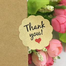 Wholesale Love Box Cake - 500pcs Kraft Sticker Labels Thank You love self-adhesive stickers Baking Seal Label Stickers For HandMade Gift  Cake Gift Boxes