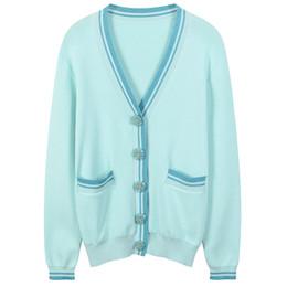 Envío gratis 2018 rosa   azul rayas jacquard de las mujeres Cardigans marca  mismo estilo Gold Line botones mujeres suéteres DH71 4d6401cf50467