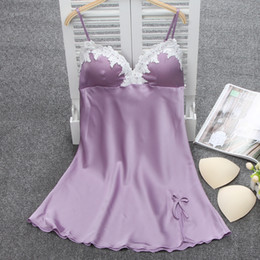Ladies Sexy Silk Satin Nightgown Lace Nightdress Sleeveless Nighties Summer  Night Dress Charming Sleep Wear Night Wear For Women S923 bd8a1ec26