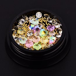 Wholesale Hearts Arts - 1Pot Mix Shape Nail Art Decoration Acrylic Crystal Metal Beads Water Drop Oval heart Diamonds 3d Manicure Accessory Diy New Gift