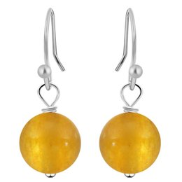 Желтые рыхлые бусины онлайн-QIMING Natural Round Yellow Loose Stone  Dangling Earring Purple Chalcedony Vintage Earrings for Women Teen Girls