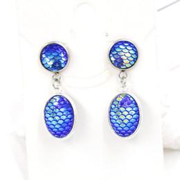 Wholesale girls dragon jewelry - New Mermaid Scale Druzy Drusy Stud Earrings Fish Dragon Scale Dangle & Chandelier Earrings Stainless Steel Jewelry For Women Girl brithday