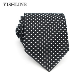 Wholesale Silk Neck Ties Xl - XT055 Black White Polka Dot Tie for Men Wide 8cm 100% Silk Formal Neck Ties Jacquare Business Casual Male Suit Necktie Wedding