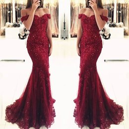 Wholesale China Sexy Women - Burgundy Wine Red Prom Dresses 2018 Capped Sleeve Lace Appliques Sweep Train Tulle Formal Wear Gowns Women Evening Party Dress China