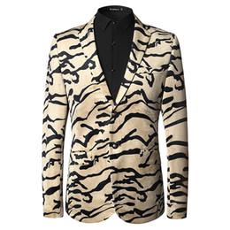 Wholesale Beige Color For Mens Suits - 2017 new arrival Mens high quality blazer dress suit wedding for man velvet tiger texture picture beige size M L XL 2XL 3XL