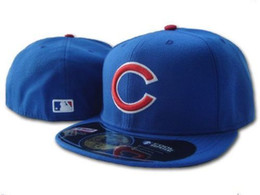 Wholesale Cubs Team - Men's Cubs Royal Blue color on field fitted hat Top Quality flat Brim embroiered Letter Team logo fans baseball Hats cubs full closed caps