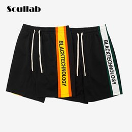 Wholesale Urban Clothing Brands - side logo stripe men bottom casual fashion track shorts gothic chic geek rock boy brand-clothing urban streetwear rapper