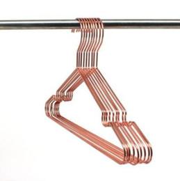 Wholesale multipurpose cleaner - Multipurpose Dry Cleaning Brass Elegant Rose Gold Clothes Hanger Wire Copper Coat Hanger Antiskid Organizer Coat Hanger CCA10089 60pcs
