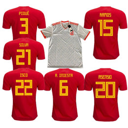 Wholesale Cotton Feet - 2017 2018 Top Thai quality ASENSIO MORATA ESPANA ISCO soccer jerseys world cup 2018 RAMOS INIESTA football shirt Camisa maillot de foot
