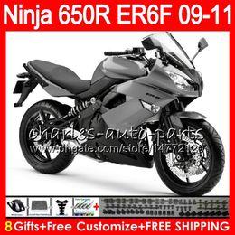 ninja de prata Desconto Corpo Para KAWASAKI NINJA 650R ER 6F ER-6F 2009 2010 2011 Kit 114HM.31 Ninja650R Prata cinza ER6 F 650 R ER6F 09 10 11 Carenagem de Carroçaria de Moto