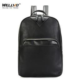 wochenendrucksack Rabatt Wellvo Herren Leder BackpacLarge Reisetasche für Jugendliche Schüler DaypacMänner Business Weekend Backpack XA177WC