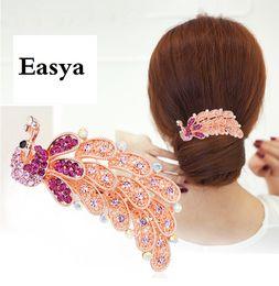 Wholesale Elegant Hair Bows - Easya Elegant Crystal Rhinestones Bow Rose Peacock Shape Hairpin Clip Hair Barrette Fashion Hair Clips Jewelry Clips Hair Accessories