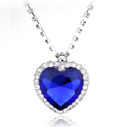 Wholesale Ocean Movies - Crystal Chain The Heart Of The Ocean Necklace luxurious Heart Diamond Pendants Titanic Necklaces For Women Movie statement Jewelry Gift New