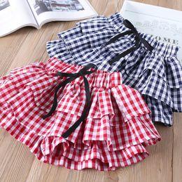 Wholesale Short Pleated Plaid Skirt - INS Baby Girls Plaids Pantskirt Fashion 2018 New Bow Ruffle Tiered Children Skirts Shorts Summer Kids Casual Shorts C3197