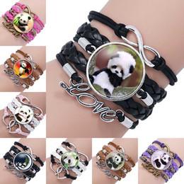 panda charme armbänder Rabatt Mode Glas Cabochon Anhänger Unendlichkeit Liebe Leder Charm Doppel Herz Armband für neue Panda Schmuck Glas Wrap Armband DURCH DHL 320049