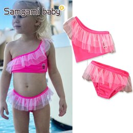 Wholesale One Off Shoulder Tops - 2018 fashion hot selling girl kids one shoulder off 2 pcs sets bikini summer girl cute shell top + fish scale short swimsuit free ship