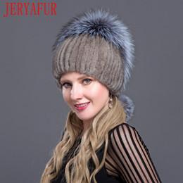 JERYAFUR 2018 Moda rusa para el gorro de esquí del sombrero de las mujeres  de invierno Jersey de viaje de visón piel de zorro de punto forro interior  ... 21e2e4d8d47