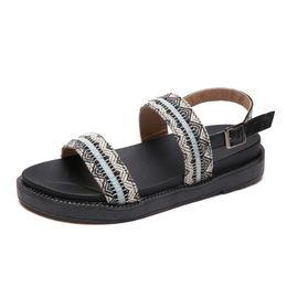 Wholesale Top Fashion Front Open - Top Quatity Fashion Women Sandals Embroidery Belt Lady Sandal Summer Shoes Soft Non-slip Women Slippers Flip Flops Beach Shoe
