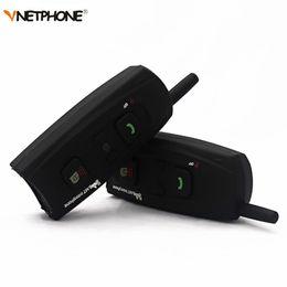 Wholesale wireless headphones helmets - Vnetphone V2-1200 Motorcycle Intercom Bluetooth Helmet Headset 1200M 2 Riders Communication BT Interphone Wireless Headphone
