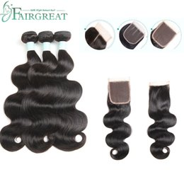 weave bundles three part closure Coupons - Body Wave Bundles With Closure Brazilian Hair Weave Bundles With Closure 100% Human Hair Bundles With Closure Fairgreat Hair Extensions