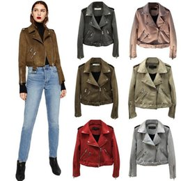Wholesale spring women s down jacket - Women Suede Leather Jackets Short Motorcycle Jacket Basic Street Women Short PU Leather Jackets Outwear OOA4380