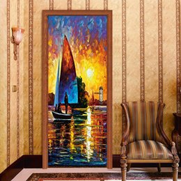 wall decor stickers people Canada - 77*200cm Novelty Elegant Beautiful Sunrise Sailboat Seascape Oil Paintting 3D Wall Sticker Wallpaper Door Creative Decals Home Decor