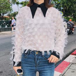 Wholesale chiffon korean women fashion - Raylans 2018 Spring Stitching Feather Blouse Long Sleeve Chffion Women Tees New Korean Fashion Sweat Shirt