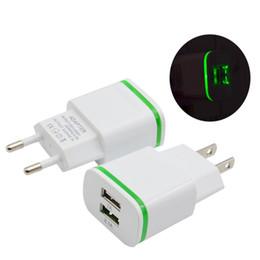 2019 cargador móvil 2a 2018 Universal 5V 2A EU EE. UU. Luz LED Puertos USB Duales Cargador Adaptador de Cargador de Energía de Viaje de Pared para Samsung iPhone Teléfonos inteligentes CAB275 cargador móvil 2a baratos