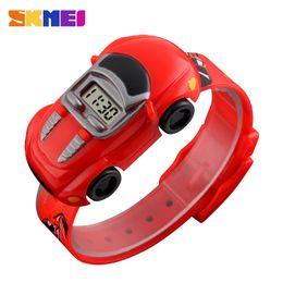 pulseira de relógio para meninas Desconto SKMEI Crianças Criativas Dos Desenhos Animados Estilo Car Watch PVC Strap Crianças Digital Relógio De Pulso Da Menina Do Menino Presente Relogio